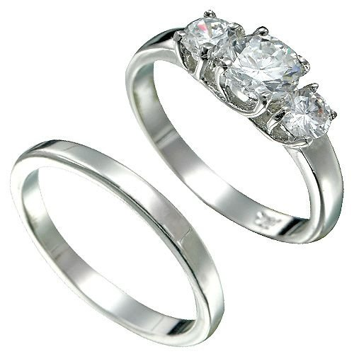 Rhodium Plated Brilliant CZ Bridal Ring Set K30 (any size)