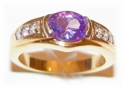 18k Gold created Amethyst & Diamond ring (any size)
