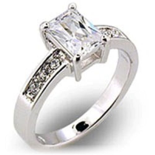 18k White Gold Princess cut CZ w/ accents Ring (any size)