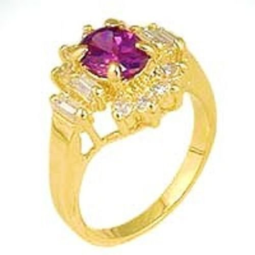 18k Yellow Gold 1 ct Amethyst CZ Ring w/ CZ Cluster (any size)