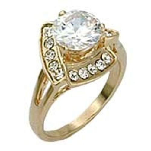 18k Yellow Gold 2.5 ct Solitaire w/ Trillion Pattern CZ Cluster Ring (any size)