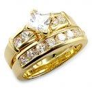 18k Yellow Gold Plated Wedding ring set 1.25 ct princess cut (any size)