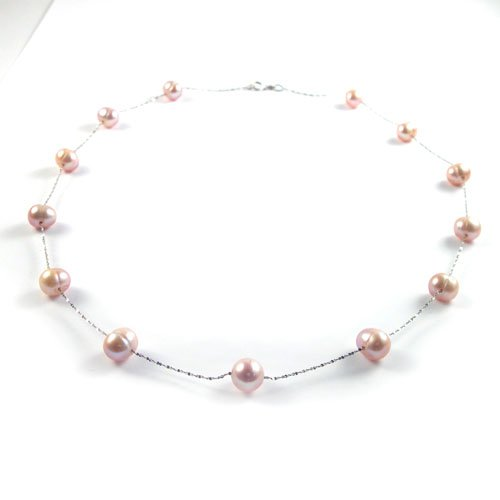 Solid Sterling Silver Pink Pearl Necklace
