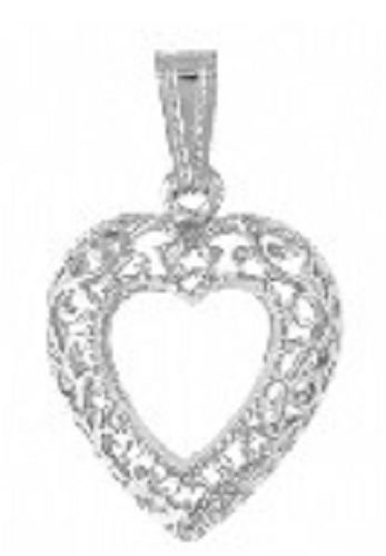 High polished Silver plated Filigree Heart Pendant