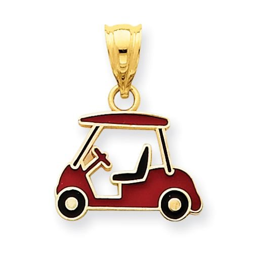14K GOLD AND ENAMELED GOLF CART CHARM