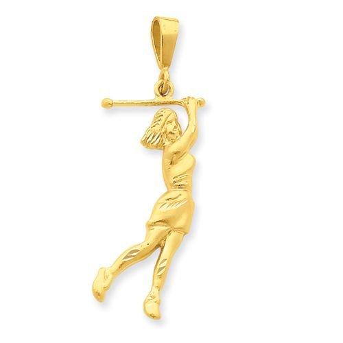 14K GOLD FEMALE GOLFER PENDANT