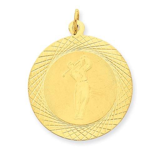 14k GOLD MALE GOLFER ON DISC PENDANT