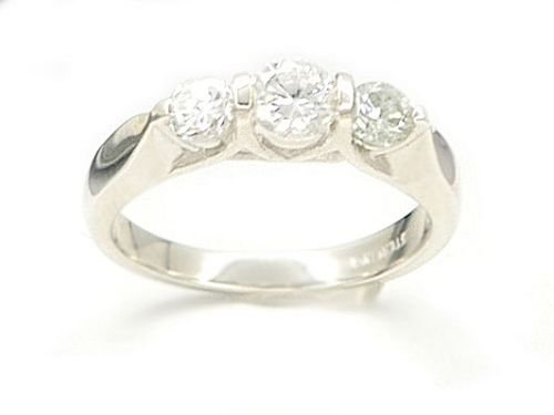 Solid 14K White Gold 1 tcw Past Present Future Ring