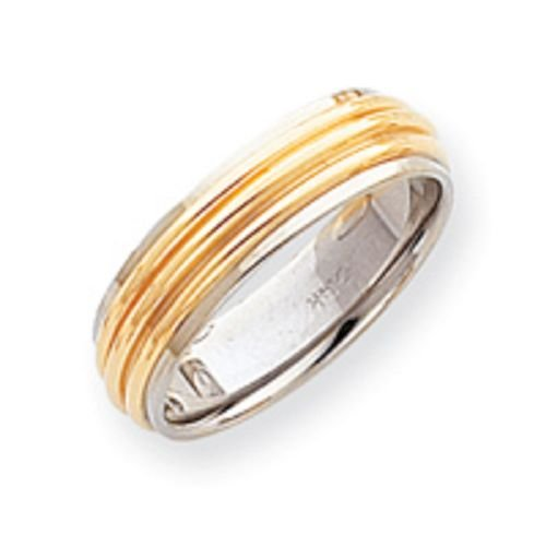 14K Gold Two Tone Ribbed Wedding Band