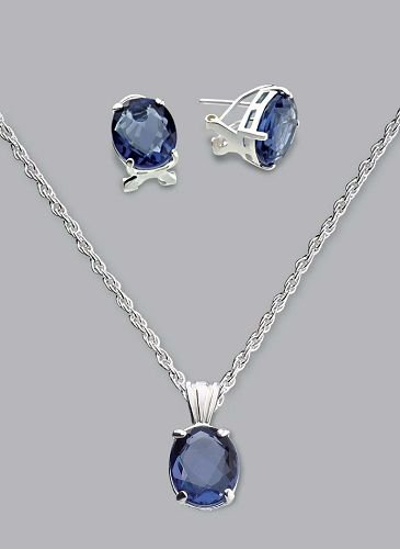 Silver Laminated Blue Stone Necklace Set