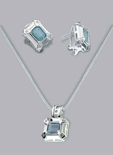 Silver Laminated Aqua Cap Stone Necklace Set