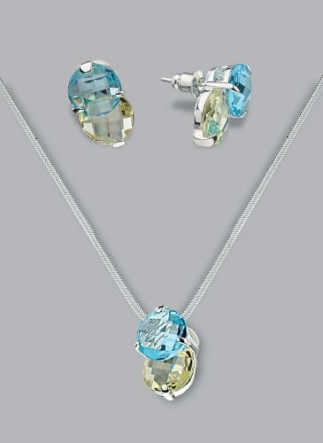 Silver Laminated Double Head Stones Necklace Set