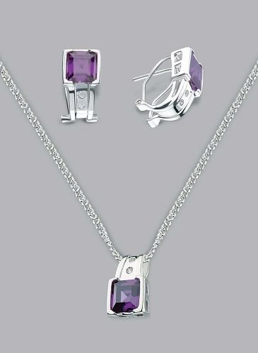 Silver Laminated Purple Clip Necklace Set