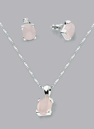 Silver Laminated Pink Stones Necklace Set