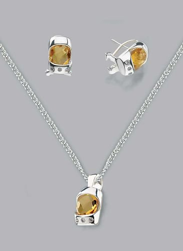 Silver Laminated Topaz Zic Trio Necklace Set
