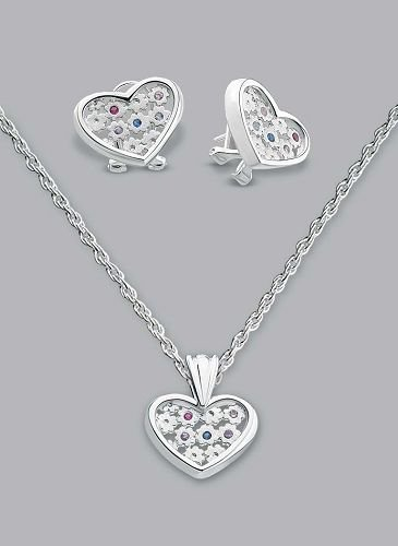 Silver Laminated Inner Stone Heart Necklace Set