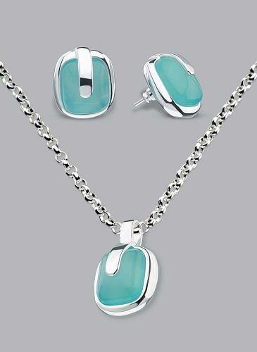 Silver Laminate Necklace Set