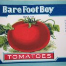 Vintage Bare Foot Boy Tomatoes unused can labels