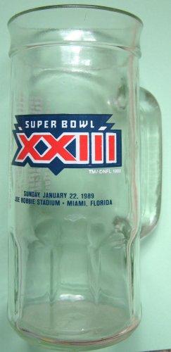 Super Bowl XXIII souvenir collecible Fisher Nuts glass mug 1989