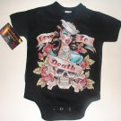 Black punky tattoo style sailor girl onesie or tee