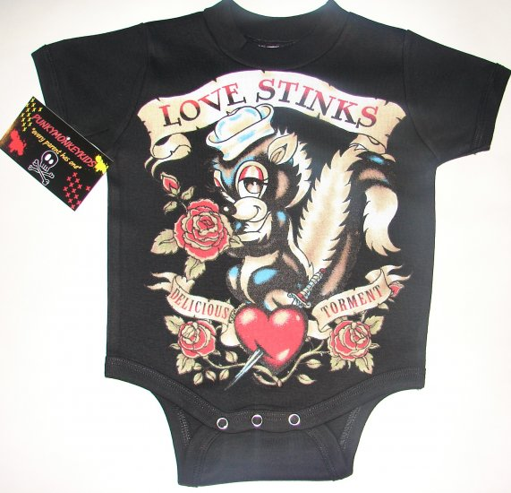Black tattoo, punky style onesie or tee of a skunk (love stinks)