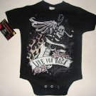 "NEW BLACK PUNKY TATTOO STYLE ONESIE OR TEE OF A SKULL WITH GUITAR ""LIVE FOR ROCK"""