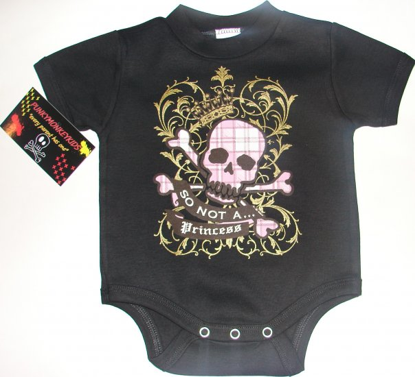 "NEW BLACK PUNKY TATTOO STYLE ONESIE OR TEE OF A GIRLIE SKULL WORDING ""SO NOT A PRINCESS"""