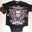 "NEW BLACK PUNKY GOTHIC STYLE ONESIE OR TODDLER TEEO OF BUTTERFLY WITH WORDING ""WILD CHILD"""
