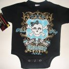 "NEW BLACK PUNKY GOTHIC STYLE ONESIE OR TODDLER TEE OF A GIRLIE SKULL WITH WORDING ""CUTE & TUFF"""