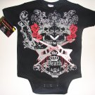 "NEW BLACK TATTOO STYLE ONESIE OR TODDLER TEE OF SKULLS, ROSES AND GUITARS ""ROCK n ROLL"""