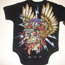 NEW BLACK PUNKY TATTOO STYLE ONESIE OR TODDLER TEE OF A WICKED SKULL WITH WINGS