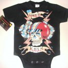 "NEW BLACK PUNKY TATTOO STYLE ONESIE OR TODDLER TEE OF A RACING HELMET WITH WORDING ""SPEED KILLS"""