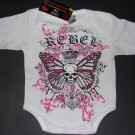 "NEW WHITE LONG SLEEVE PUNKY GOTHIC STYLE BUTTERFLY SKULL WITH WORDING ""REBEL"""