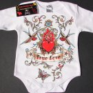 "NEW WHITE LONG SLEEVE TATTOO STYLE ONESIE OF SPARROWS AND HEART ""TRUE LOVE"""