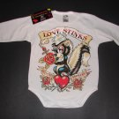 "NEW WHITE LONG SLEEVE TATTOO STYLE ONESIE OF A SKUNK ""LOVE STINKS"""