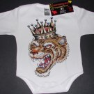NEW WHITE LONG SLEEVE TATTOO STYLE ONESIE OF A TIGER WITH CROWN