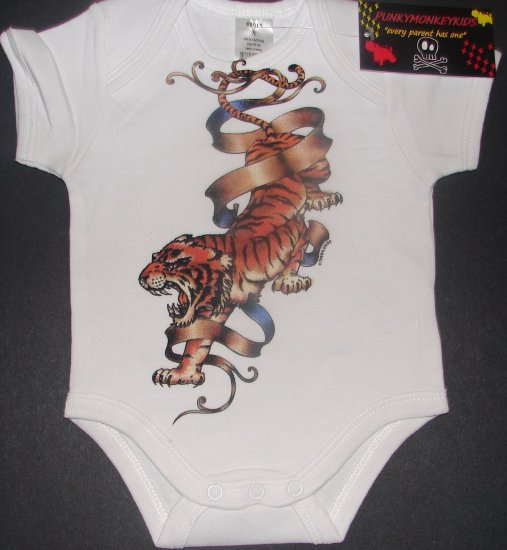 NEW WHITE SHORT SLEEVE TATTOO STYLE ONESIE OR TODDLER TEE OF A FULL TIGER & BANNER