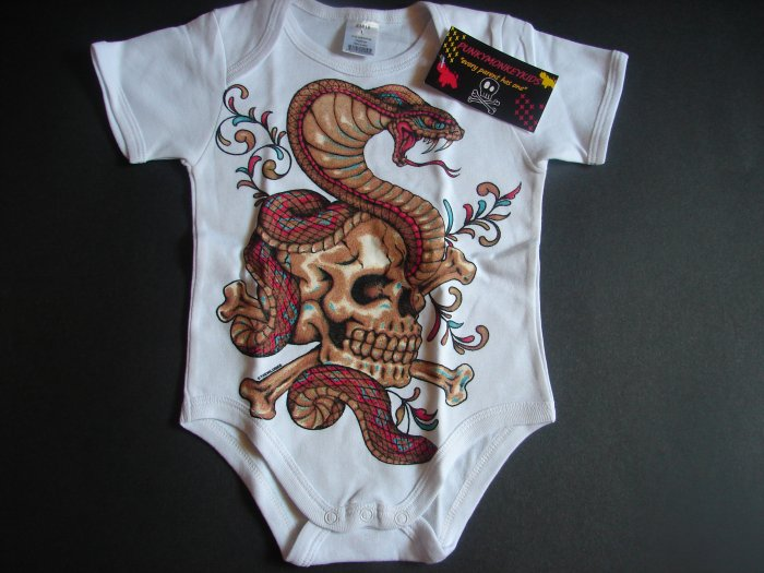 NEW WHITE SHORT SLEEVE TATTOO STYLE ONESIE OR TODDLER TEE OF A SNAKE AND SKULL