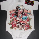 "NEW WHITE SHORT SLEEVE TATTOO STYLE ONESIE OR TODDLER TEE OF A SAILOR GIRL ""LOVE TO DEATH"""