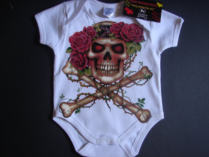 NEW WHITE SHORT SLEEVE ONSIE OR TODDLER TEE OF A SKULL WITH HEADBAND AND ROSES