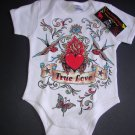 "NEW WHITE SHORT SLEEVE TATTOO STYLE ONESIE OR TODDLER TEE OF SPARROWS AND HEART ""TRUE LOVE"""