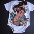 NEW WHITE SHORT SLEEVE TATTOO ONESIE OR TODDLER TEE OF A JAPANESE GEISHA GIRL
