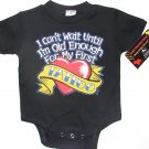 "NEW BLACK ONESIE OR TODDLER TEE ""I CANT WAIT UNTIL IM OLD ENOUGH FOR MY FIRST TATTOO"""