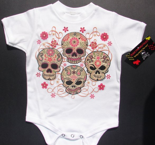 NEW WHITE SHORT SLEEVE TATTOO ONESIE OR TODDLER TEE OF 4 SKULLS