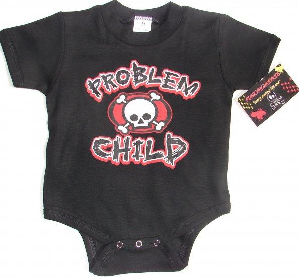 """NEW BLACK ONESIE OR TODDLER TEE OF CROSSED BONES """"PROBLEM CHILD"""""""