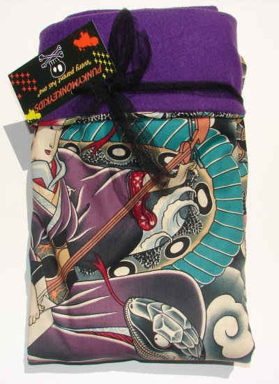 NEW JAPANESE TATTOO BLANKET WITH PURPLE FLEECE