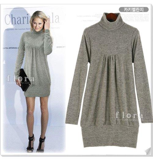 Light Grey Long Sleeve Turtleneck Short Dress (Item no. X08122432-2)