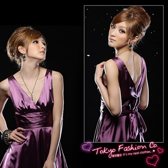 Purple Satin V-Neck Sleeveless Dress (Item no. P09010821)