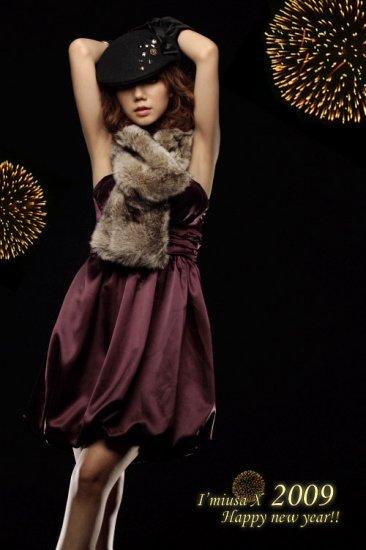 Maroon Satin Short Bubble Tube Dress (Item no. P09010817)