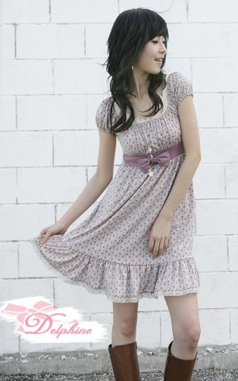 Floral Baby Doll Dress With Ribbon Bow (Item no. C0808106)